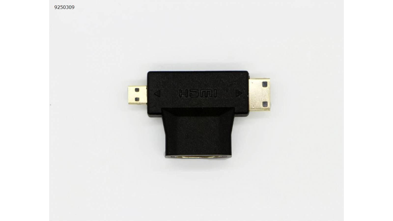 ADAPTADOR MICRO HDMI MACHO-MINI HDMI MACHO A HDMI HEMBRA
