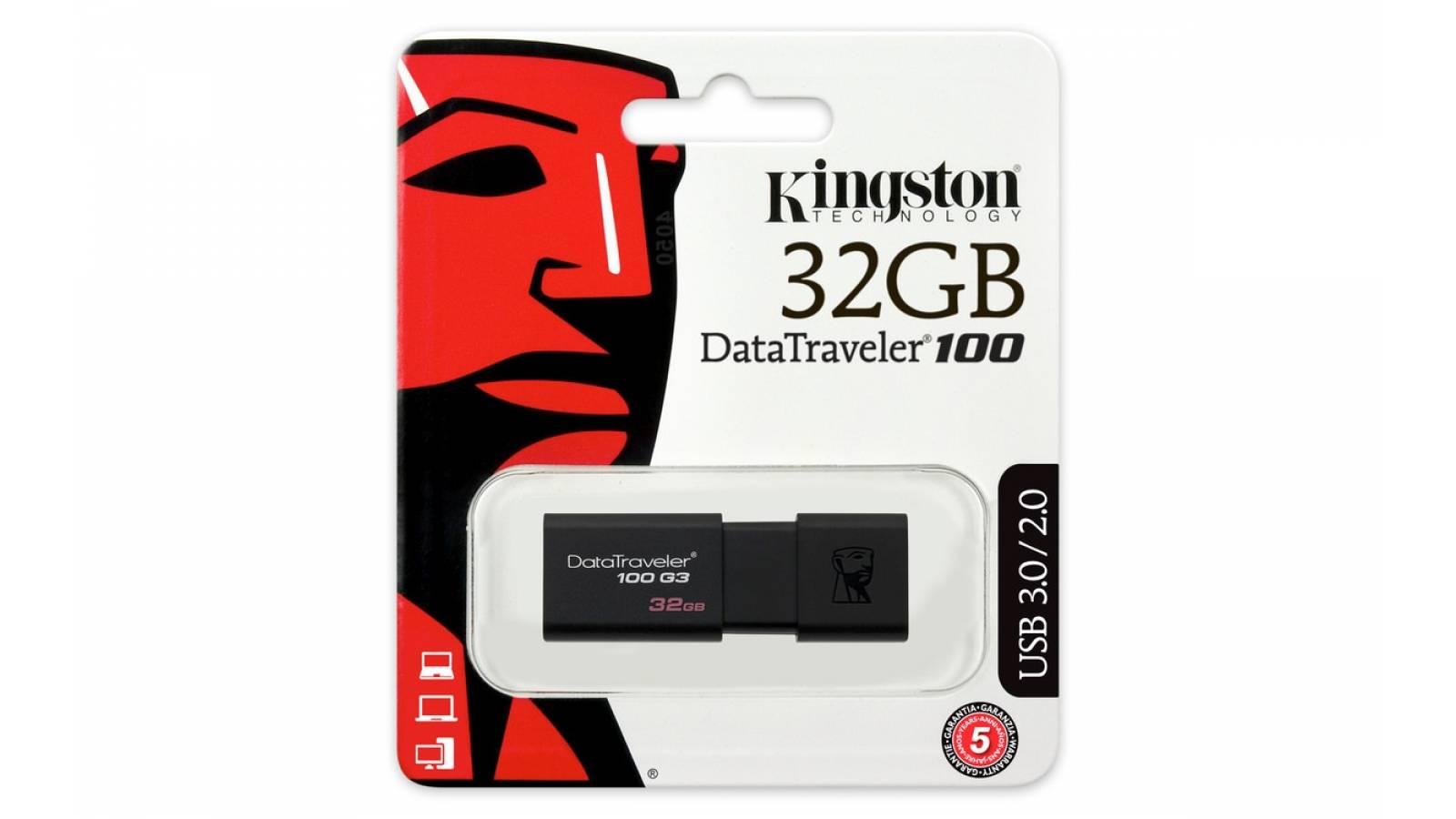 PENDRIVE KINGSTON 32 GB USB 3.0 , DT100G3/32GB BLACK