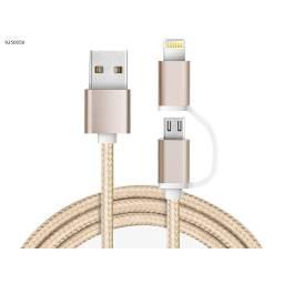 CABLE  USB 2 EN 1 LIGHTNING IPHONE+ MICRO B -1 MT/ NYLON