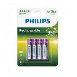 PILAS RECARGABLES PHILIPS AAA 950 MAH X4