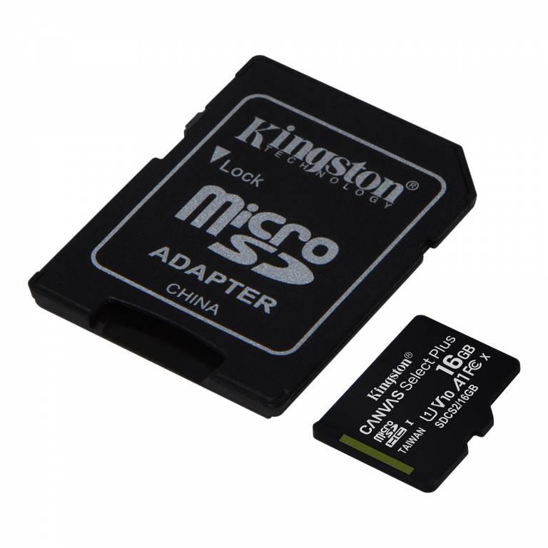 MEMORIA KINGSTON 16GB MICROSDHC CANVAS SELECT 100R CL10 UHS-I CARD